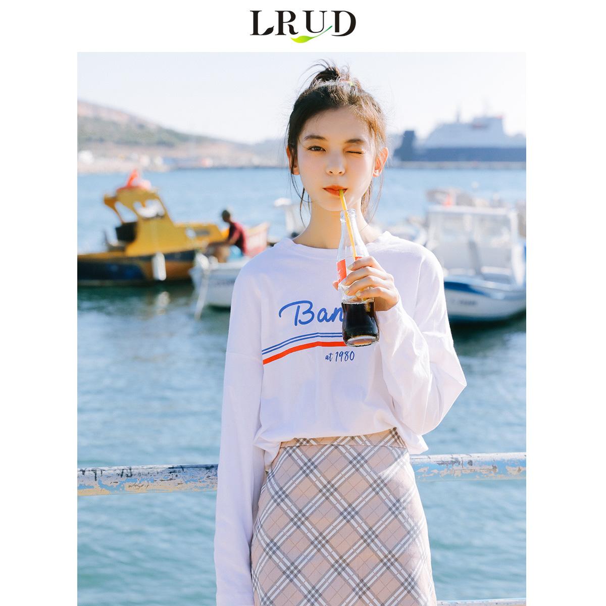 LRUD白色T恤女2019春季新款韩版长袖上衣宽松学生休闲内搭打底衫