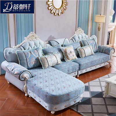 蒂御轩简欧式布艺沙发组合转角贵妃大小户型L型客厅实木雕花沙发十大品牌