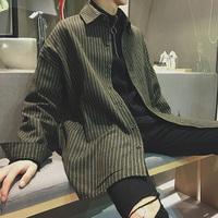 春秋季衬衣男长袖韩版潮流帅气休闲中长款条纹衬衫男宽松外套男士