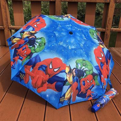 新品卡通蜘蛛侠儿童雨伞全自动三折叠轻便携带男女孩大号小学生伞