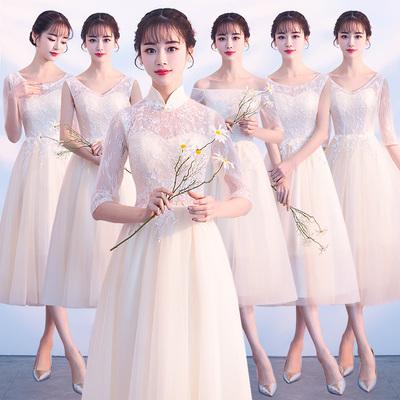 香槟色伴娘服中长款2018新款韩版伴娘裙子女姐妹团晚礼服显瘦修身