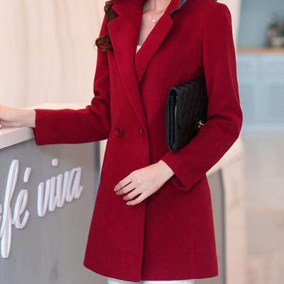 2017新款秋冬季西装领加厚修身大码呢子毛呢外套女中长款妮子大衣