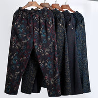 Spring and Autumn New Mother Pants Middle and Old Women's Pants High Waist Loose Grandma Pants Seniors 60 Large Size Pants 70 Years Old