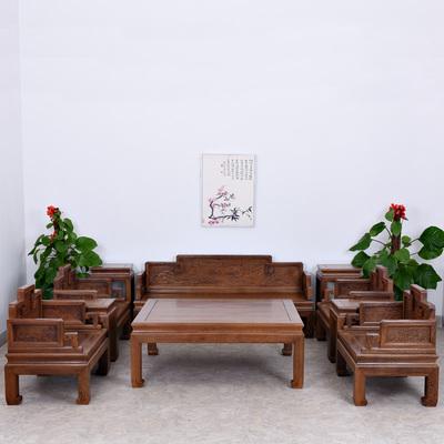 红木家具 实木沙发组合 鸡翅木中式仿古简约客厅沙发六/八/十件套
