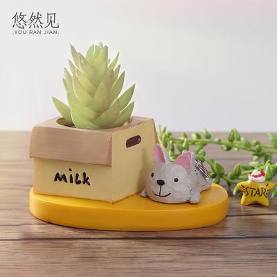 创意zakka日系可爱动物个性多肉花盆阳台桌面微景观搭配田园盆栽