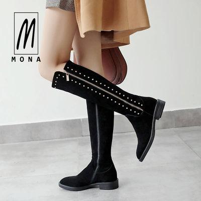 陌娜2018秋冬新款圆头磨砂铆钉高筒靴侧拉链全牛翻皮中跟长靴黑色