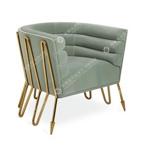现代轻奢金色不锈钢创意单人沙发设计师推荐天鹅绒样板房间接待椅