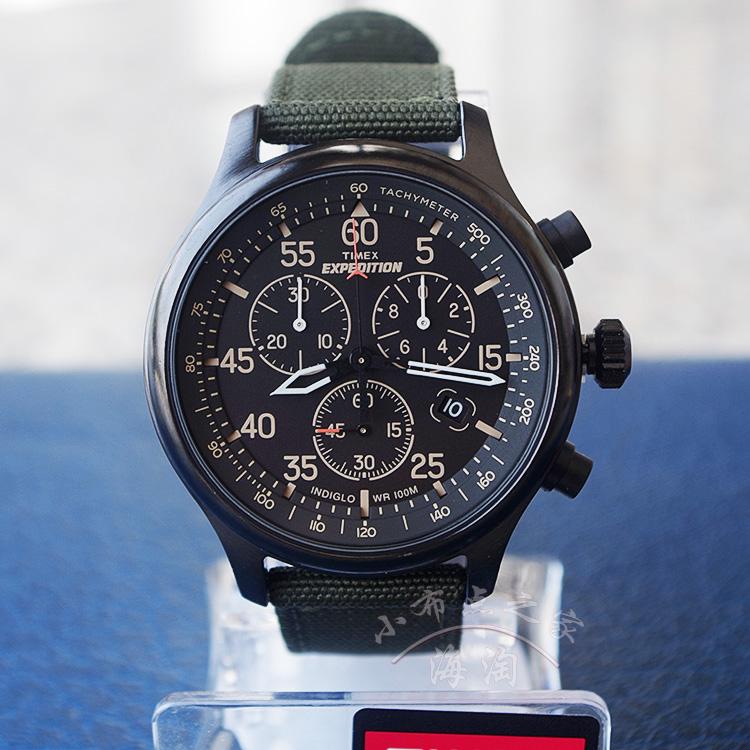 天美时男表Timex军旅户外运动腕表 TW4B10300/T49905军绿色帆布带