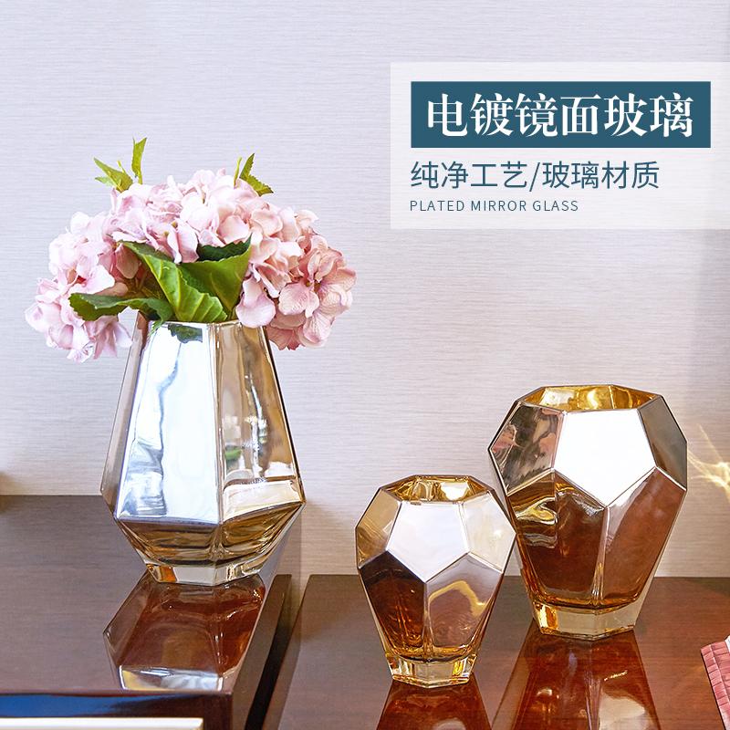 欧式金色玻璃花瓶摆件客厅餐桌电视柜北欧小清新插花家居软装饰品
