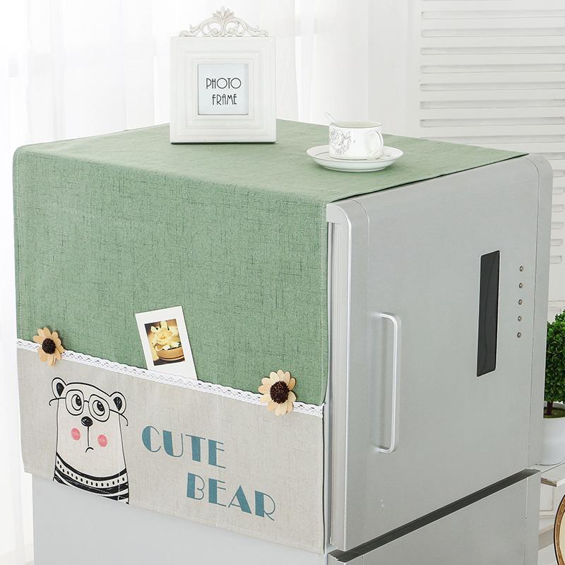 欧式冰箱盖布床头柜罩收纳冰箱罩微波炉烤箱盖巾布艺滚筒防尘罩子
