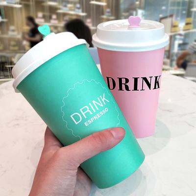 韩版网红超厚樱花粉纸杯 一次性奶茶杯子咖啡热饮打包杯带盖500只