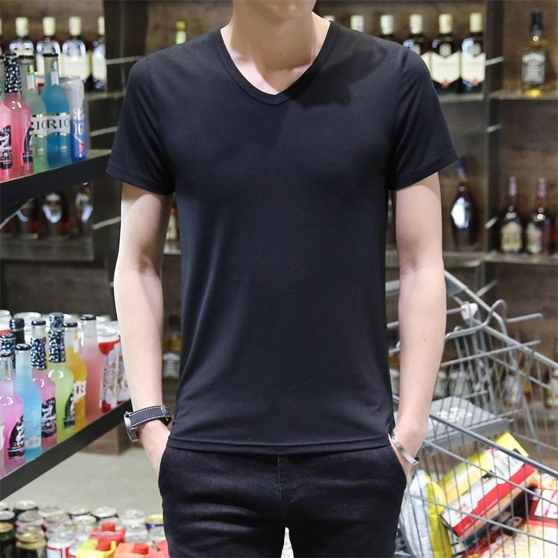 包邮 纯黑衣服薄款 男士 夏季男装 t恤短袖 纯色V领半袖 2017新款 9.9元