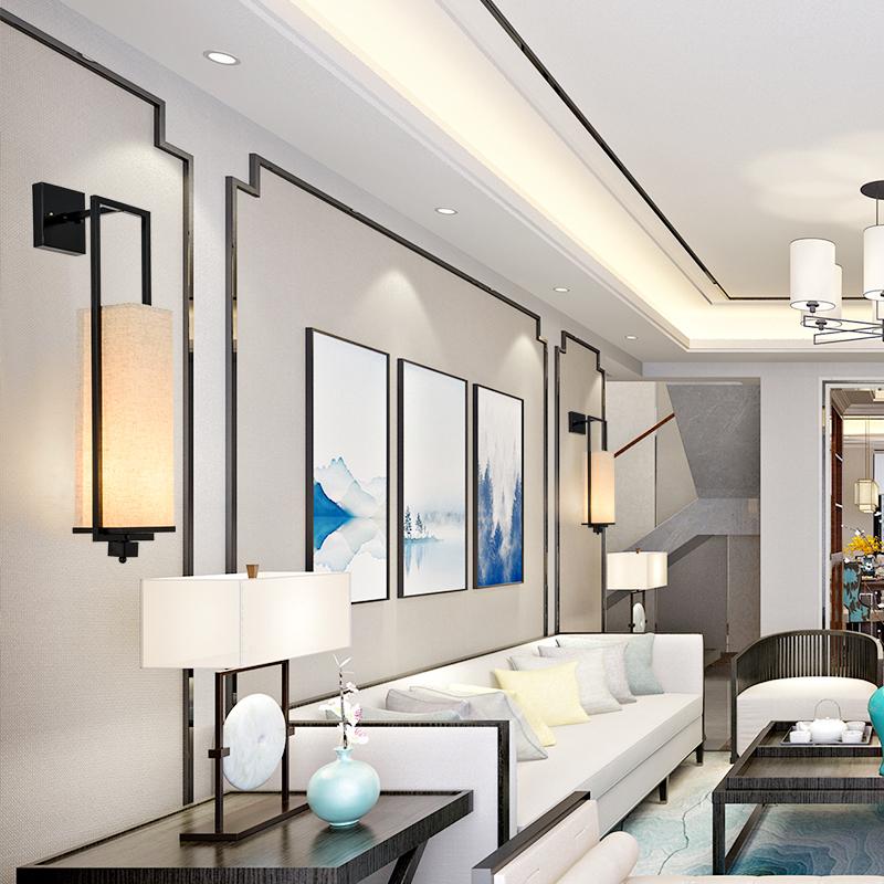 床头台灯卧室温馨中式灯具创意个姓铁艺书房台灯 现代新中式台灯