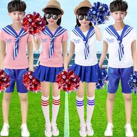 啦啦队服装女套装小海军六一儿童拉拉队学生班服表演服演出幼儿园