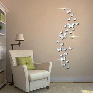 饰墙饰 亚克力镜面立体蝴蝶墙贴客厅卧室沙发背景墙组合创意宾馆装