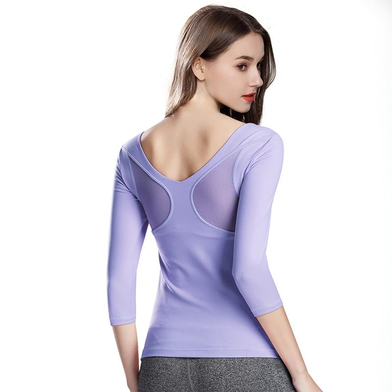 后背网纱拼接性感修身运动健身服上衣透气速干七分袖瑜伽服t恤女
