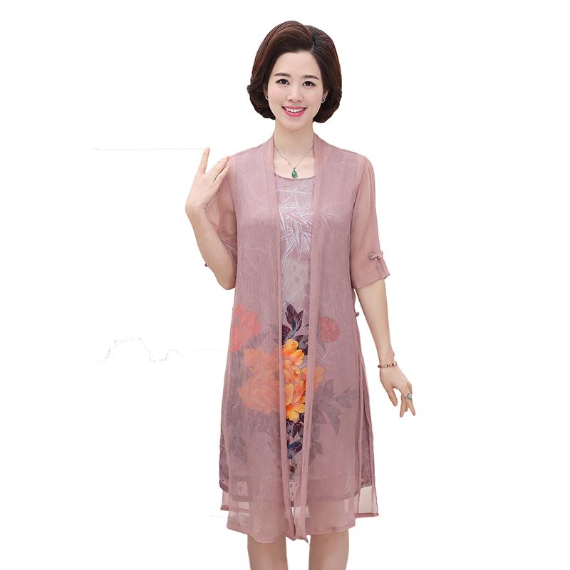 中年女装春夏季套装裙子妈妈装30-40岁50两件套中老年雪纺连衣裙