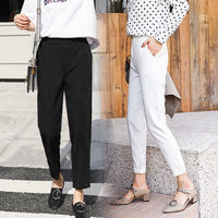Harlan pants casual radish spring feet black loose nine points chiffon pants straight suit pants thin section summer