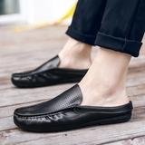 夏季透气包头半拖鞋男士豆豆休闲凉拖韩版潮流沙滩鞋防滑懒人凉鞋
