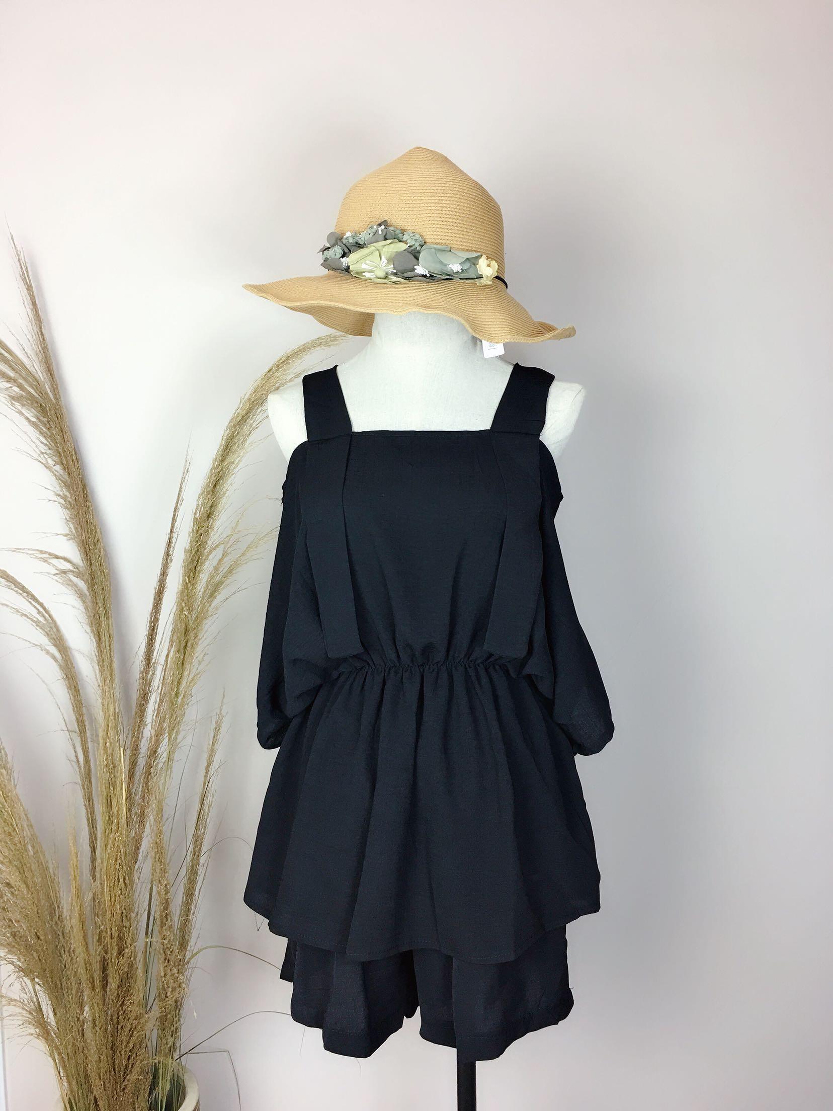 2018夏款女装两件套时尚百搭显瘦套装女一字肩遮手臂分体套装