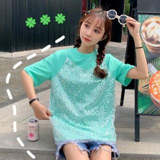 夏季女装2019新款韩版亮片上衣生小清半袖新学女假两件短袖T恤女