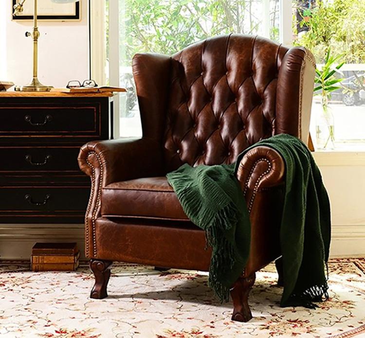美式复古拉扣做旧皮沙发
