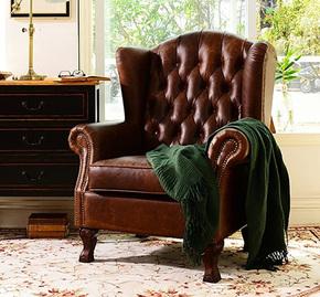 美式乡村复古单人沙发油蜡皮高背拉扣头层牛皮老虎椅做旧真皮沙发