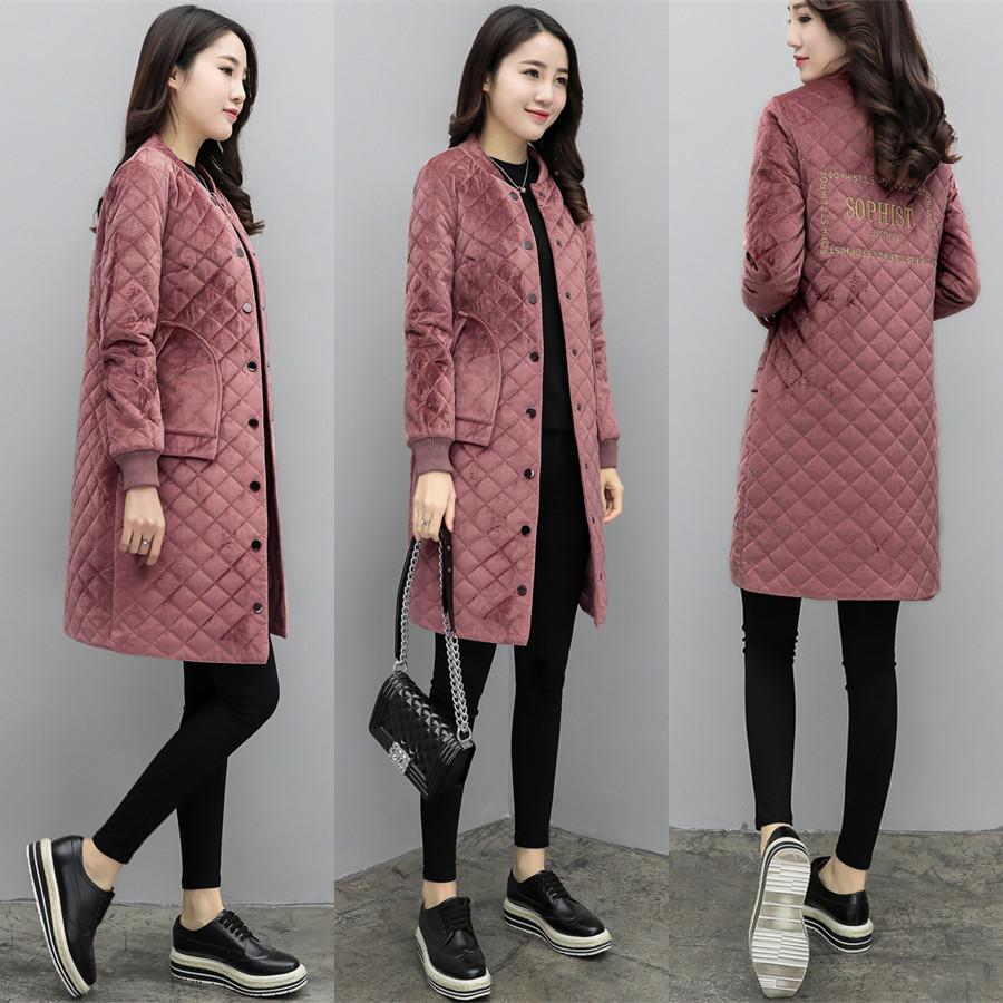 粉色长款棉衣棉服