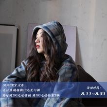 SOSER official store originally designed Guochao grey blue suit, Wool Plaid jacket, spring and autumn new sanitary garment