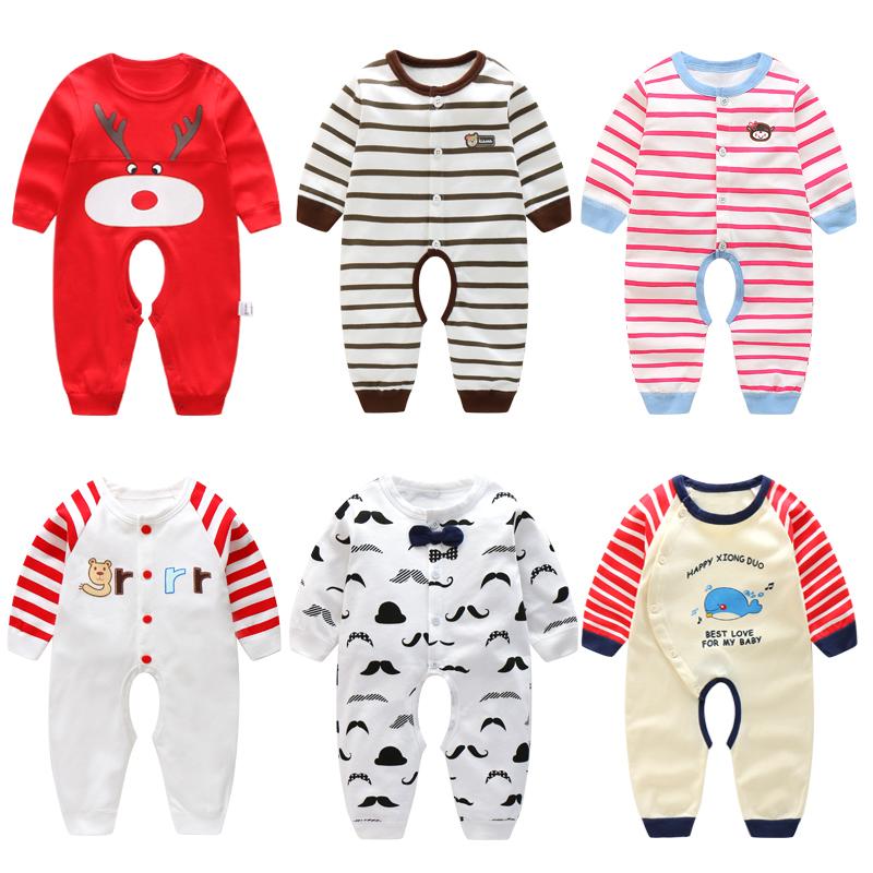 婴儿连体衣服纯棉薄款男女宝宝爬服开档新生儿春秋季0-3个月6哈衣