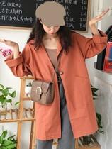 怪味少女外套长风衣高中学生超长女韩版高个子女装170-175欧美潮