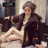 Chimidi Yang air girl coat 2018 winter dress new thickened girl roll wool coat imitation fur coat