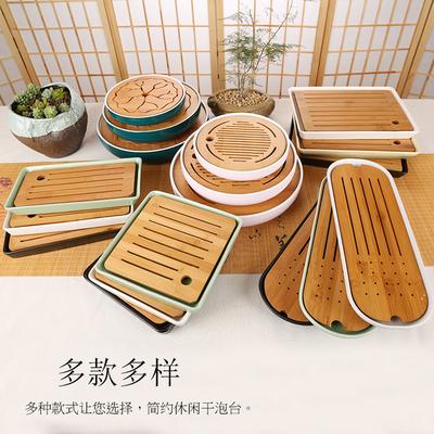 家用日式竹制托盘功夫茶具圆形陶瓷茶盘储水大小号新品干泡台茶道