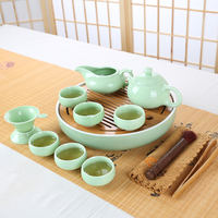 Household Japanese-style bamboo tray Kung Fu tea set round ceramic tea tray water storage size new dry bubble tea ceremony