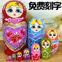 正品俄罗斯特色10层套娃中国风创意抖音礼物木质进口15层玩具清仓