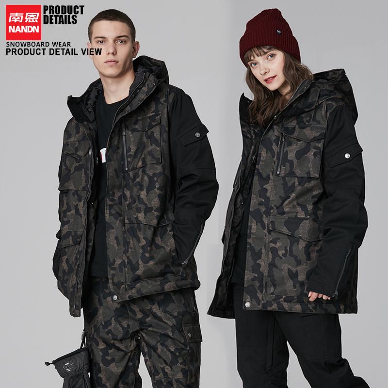 新款韩版情侣滑雪服工装款双板单双板滑雪衣防水长款修身夹棉男女