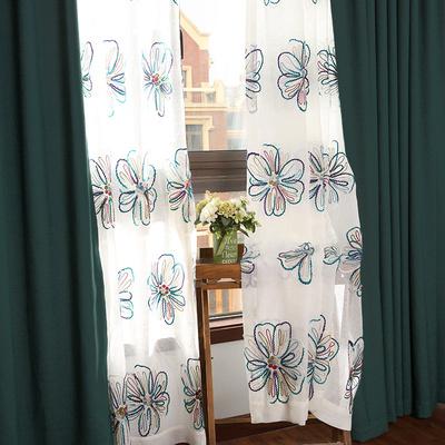 豆蔓 大花纱蓝 美式乡村纯色窗帘加厚 简约现代客厅定制绣花纱帘