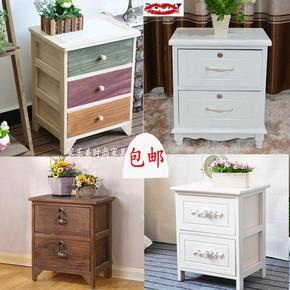 实木小床头柜简约长40高45-50cm田园带锁收纳柜白色迷你两层抽屉