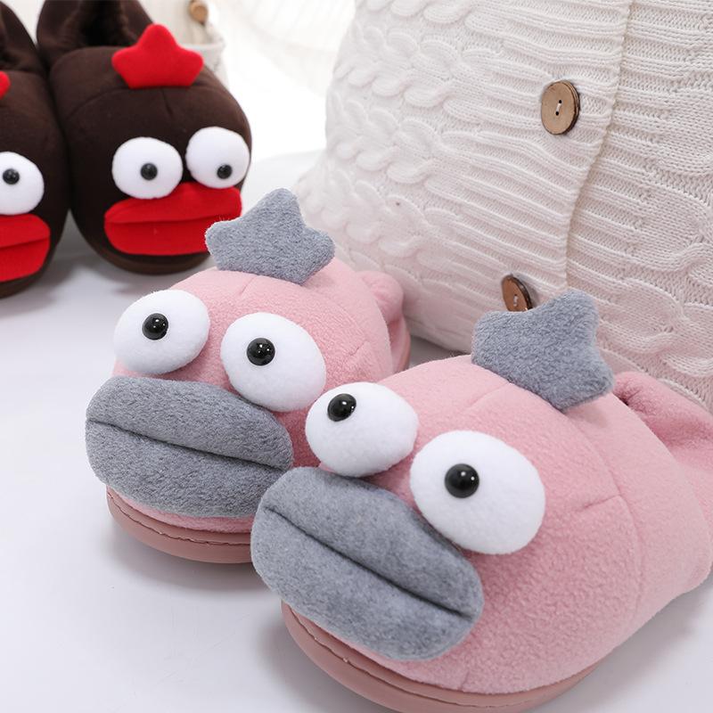 冬季棉拖鞋女创意大嘴巴棉鞋个性卡通居家月子情侣拖鞋
