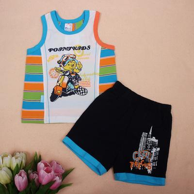 小数点童装夏装0-12男童背心套 婴儿宝宝卡通夏季背心套装3折惠