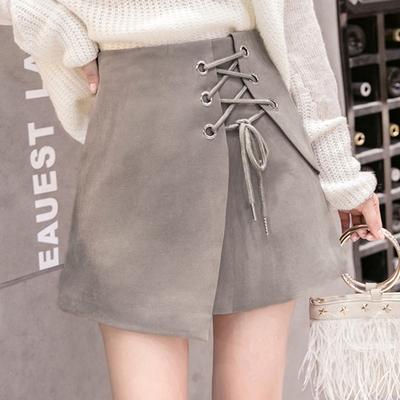 秋冬新款鹿皮绒不规则a字裙高腰绑带半身裙短裙时尚修身包臀裙子