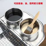 Outdoor barbecue stainless steel brush oil bowl oil tweezers oil pan electric barbecue tools home indoor barbecue accessories