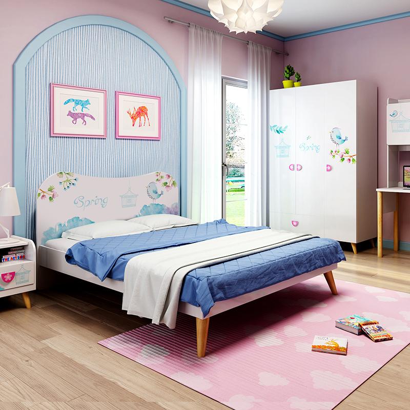七叶木儿童床女孩卧室成套家具儿童房家具组合书桌衣柜女生儿童房