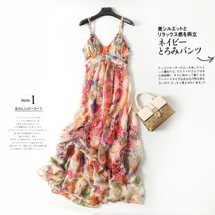 沙灘裙性感v領高腰印花色真絲連衣裙顯瘦泰國海邊度假吊帶長裙夏