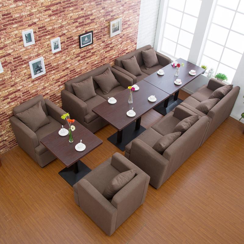 咖啡厅茶西餐厅甜品馆奶茶店休闲吧沙发卡座餐饮组合简约桌椅实木