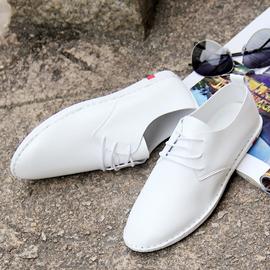 白皮鞋男青年百搭软底软面皮系带韩版潮流白色休闲男士夏季小皮鞋图片