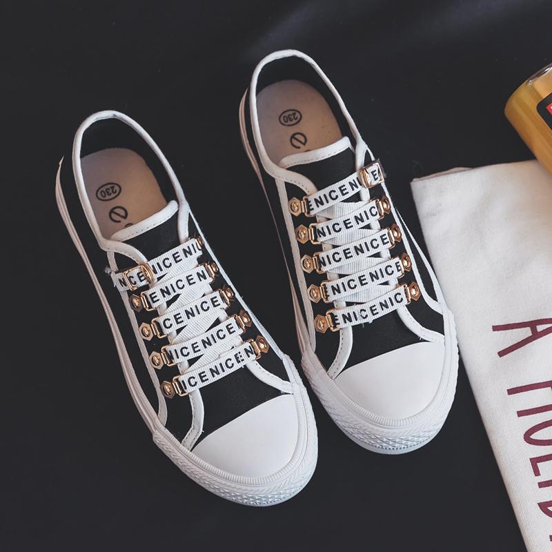 帆布鞋女字母鞋韩版学生鞋