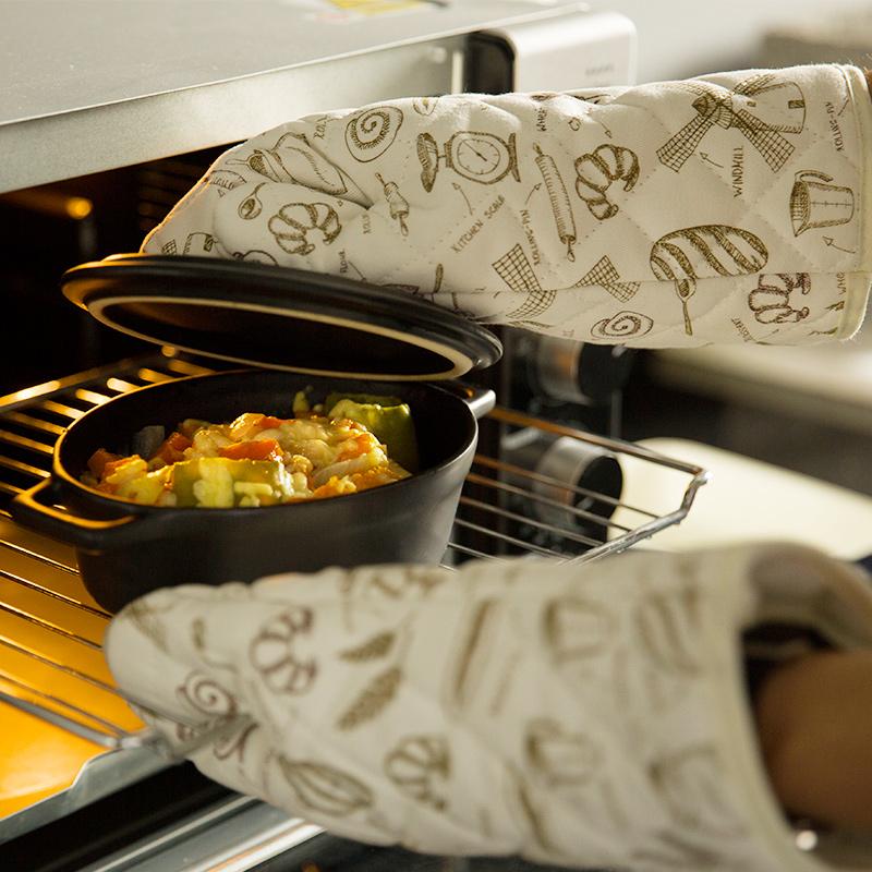 微波炉烤箱手套加厚加长棉手套防烫隔热手套烘焙手套厨房小工具