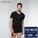爱慕先生品牌棉质V领简约薄款柔软男士短袖上衣T恤12S21