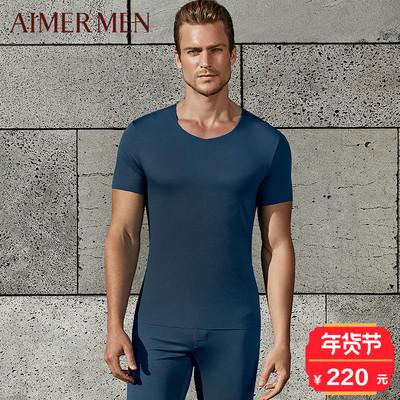 短袖 男士 爱慕先生品牌红品秋冬含羊毛无痕单层薄款 暖衣秋衣72M42